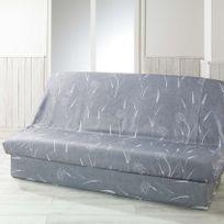 Douceur D'INTERIEUR - Housse de clic-clac Naturea gris 195x135cm avec bande de socle