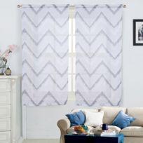Best Interior - Paire de vitrages ZigZag - blanc-gris - 2x60x120cm