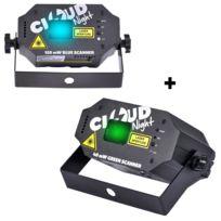 Cloud Night - Pack de 2 jeux de lumières faisceaux bleu 120mW et Vert 40mW
