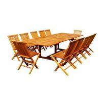 Rocambolesk - Magnifique salon de jardin teck 'huilé' 12/14 pers12 chaises+table rect. plateau xxl
