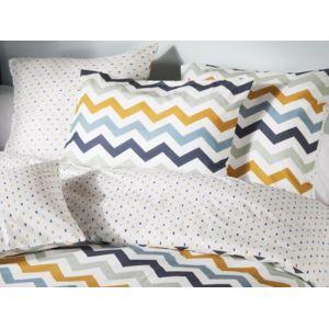 comptoir des toiles taie d 39 oreiller r versible 100 coton easycare zigzag losange multico olga. Black Bedroom Furniture Sets. Home Design Ideas