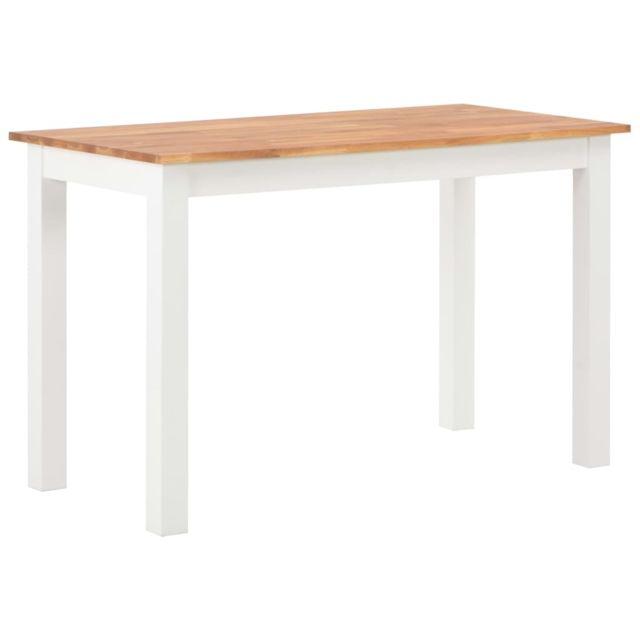 Vidaxl Bois de Chêne Solide Table de Salle à Manger 120x60x74 cm Dîner Cuisine