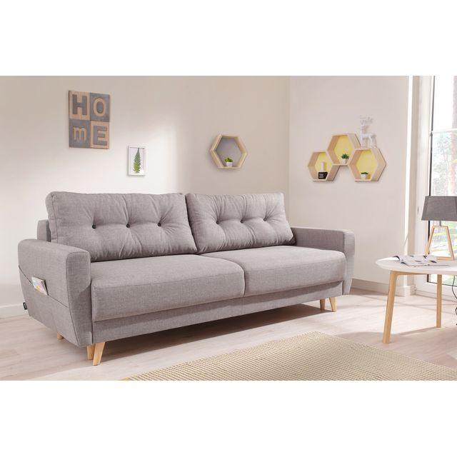 bobochic oslo canap 3 places convertible 215x90x90cm gris clair achat vente canap s. Black Bedroom Furniture Sets. Home Design Ideas