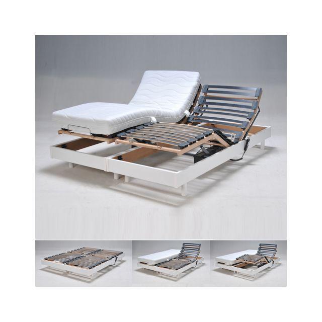 no name ensemble 2 sommiers relaxation lectrique flexpur 80x200 2 matelas m moire de forme. Black Bedroom Furniture Sets. Home Design Ideas