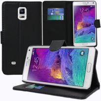 Vcomp - Housse Coque Etui portefeuille Support Video Livre rabat cuir Pu pour Samsung Galaxy Note 4 Sm-n910F/ Note 4 Duos Dual Sim, N9100/ Note 4 CDMA, / N910C N910W8 N910V N910A N910T N910M - Noir