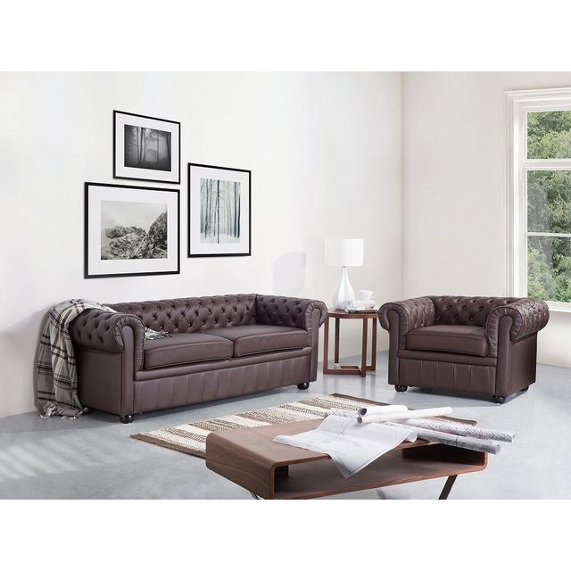 Beliani Canapé 3 places C- canapé en cuir brun - sofa Chesterfield