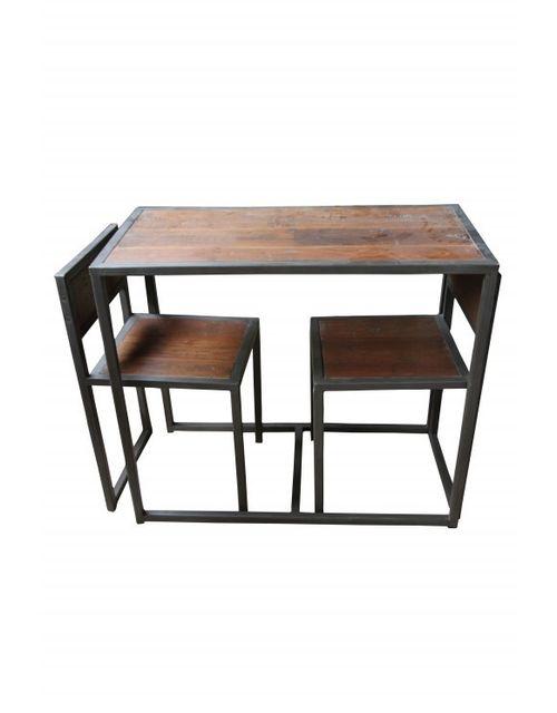 Decoshop Table et ses deux chaises encastrables en bois et metal