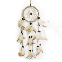 Lanitta - Attrape-rêve rond avec véritables plumes et perles