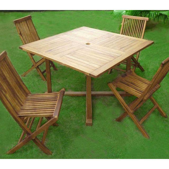 Wood En Stock - Salon en teck pour le jardin avec 4 chaises et sa ...
