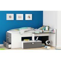 - Lit combi avec bureau 90x200cm - blanc perle et gris graphite