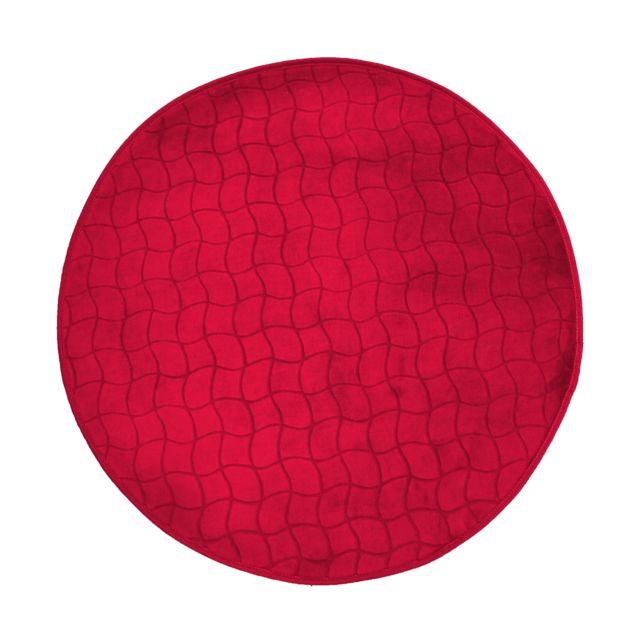 Linge Des Domes Cdaffaires Tapis rond 0, 90 cm velours uni tomette Rouge