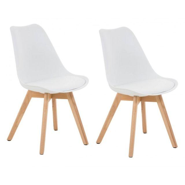 Autre Lot de 2 chaises de salle à manger scandinave simili-cuir blanc pieds bois Cds10001