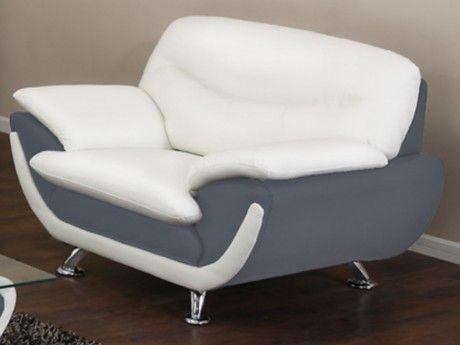Vente-unique Fauteuil en simili Indice - Bicolore blanc et gris