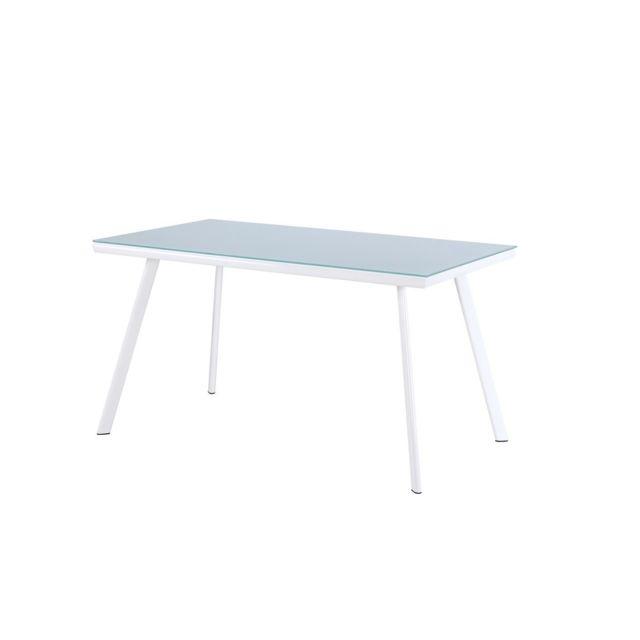 Monmobilierdesign Metal Vetro Table salle à manger Blanc