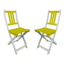 City Green - Chaises de jardin pliantes en Acacia par 2, Burano