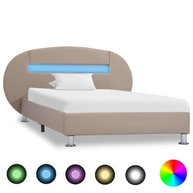 Vidaxl Cadre de lit avec Led Cappuccino Similicuir 90 x 200 cm