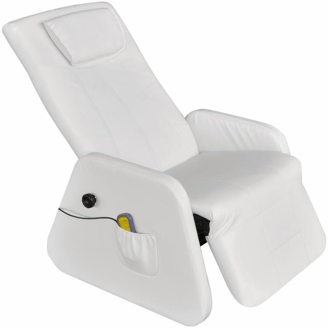 Vidaxl Blanc Gravité zéro Fauteuil de Massage électrique en cuir artficiel