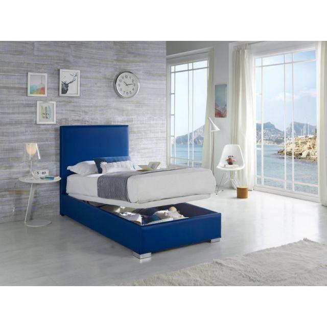 Ma Maison Mes Tendances Lit coffre avec sommier 90x190cm en simili-cuir bleu Peaky - L 190 x l 90 x H 118