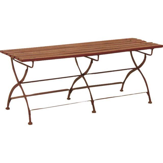 Aubry Gaspard - Banc de jardin pliant en métal et bois laqué - pas ...