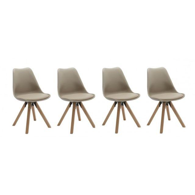 Autre Set de 4 chaises de salle à manger design simili-cuir marron clair pieds bois Cds09125