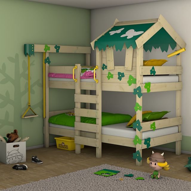 WICKEY Lit superposé CrAzY Ivy Lit en bois pour enfants - vert - pomme