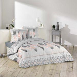 100pourcentcoton housse de couette 240x220cm 2 taies d 39 oreiller 63x63 cm plume ethnique 57. Black Bedroom Furniture Sets. Home Design Ideas