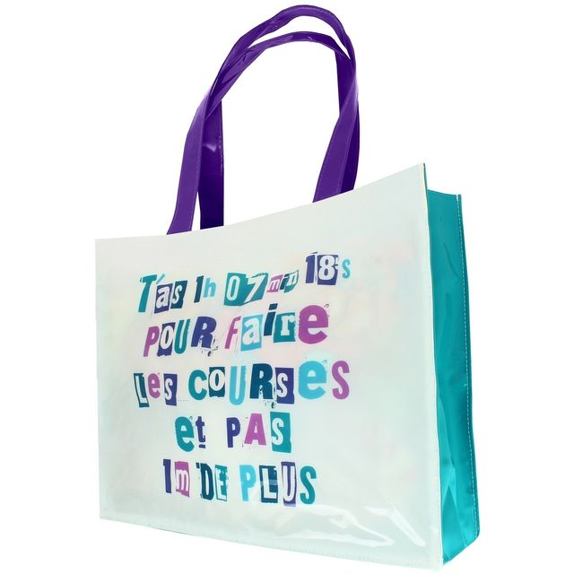 Promobo - Sac à main Femme Imprimé Shopping Mots humour Course Chrono