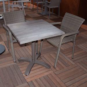 Gecko Jardin - Salon Oglio Chêne table pliante alu + 2 chaises résine  tressée Taupe 4eea14f29f15