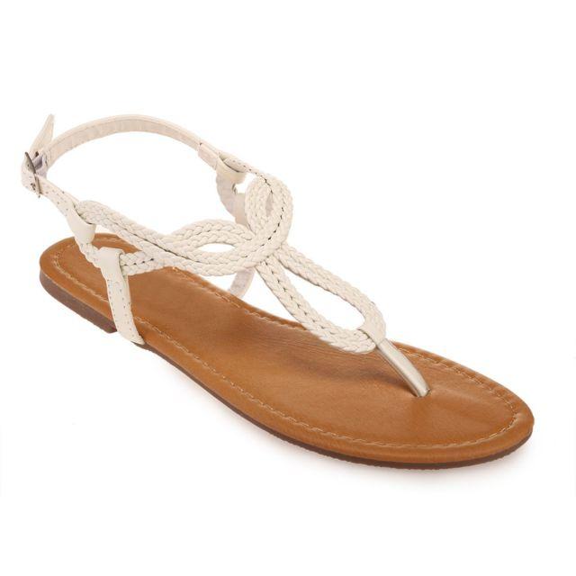 Lamodeuse - Nu-pieds blancs à bride tressée - pas cher Achat   Vente ... 30eb4abfbb82