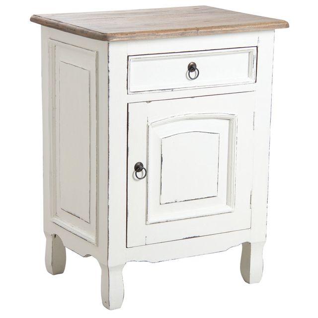 aubry gaspard table de nuit en acajou blanc pas cher achat vente chevet rueducommerce. Black Bedroom Furniture Sets. Home Design Ideas