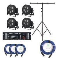 Showlite - Flp-5x9W projecteur 4 x set, y compris le contrôleur Dmx Master pro Usb + statif + câble