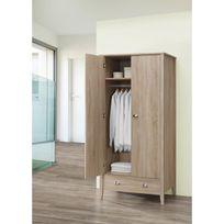 Aucune - Neo Armoire de chambre scandinave pieds en bois et poignée en métal décor chene sonoma et blanc - L 90 cm