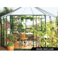 LAMS - Jardin d'hiver en verre Hera 9 m² + Base - Vert
