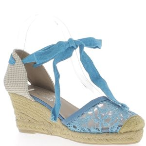 Chaussmoi - Espadrilles compensées femme bleues à talons de 7 cm aspect  dentelle et toile de