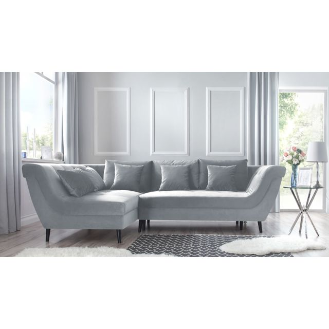 BOBOCHIC Canape d'angle convertible gauche REAL gris clair