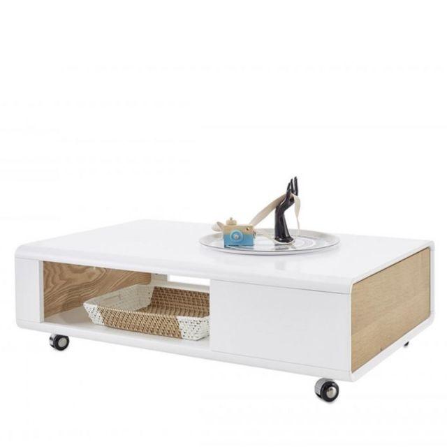Inside 75 Table basse Corinthe blanc laque mat et placage chêne 1 tiroir sur roulettes
