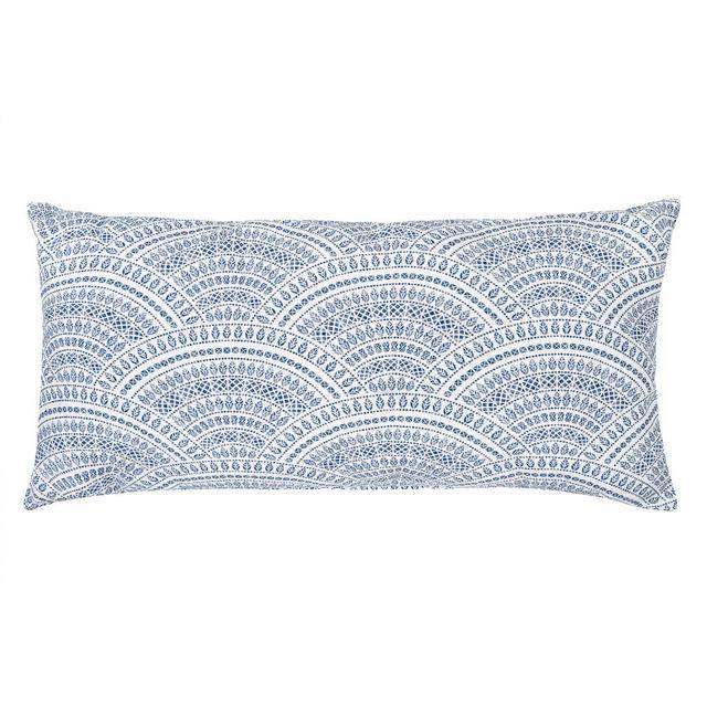 Urban Living - Coussin déhoussable coton/polyester motif rosace ethnique bleu 40x80cm Imala 0cm x 0cm