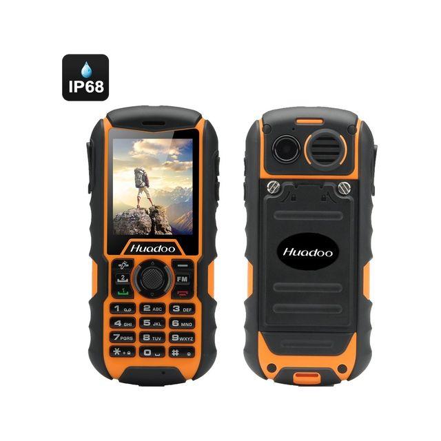 Auto-hightech Téléphone robuste double Sim étanche 2000mAh appareil photo, lampe de poche, Bluetooth Jaune