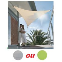 PARASOL - Voile d'ombrage triangulaire en toile 3.60m protection 50 TAUPE BRICODEAL