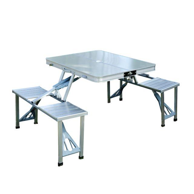 Homcom Table De Camping Pique Nique Pliante Aluminium 4
