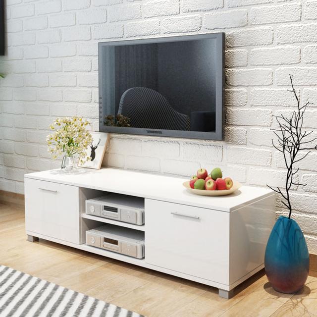 Vidaxl Meuble Tv à haute brillance blanc 120 x 40,3 34,7 cm