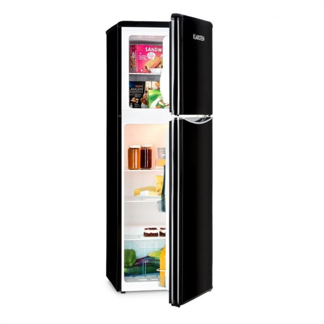 KLARSTEIN Monroe XL Black combiné réfrigérateur congélateur 97/39ll A+ look rétro noir