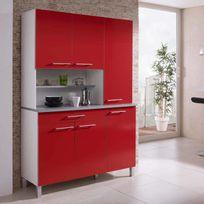 Marque Generique - Buffet de cuisine avec 6 portes et 1 tiroir Largeur 120cm Kitchen - Rouge