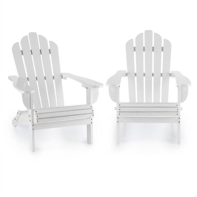 BLUMFELDT Vermont Set 2 chaises pliantes de jardin style Adirondack sapin blanc