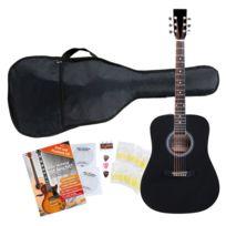 Classic Cantabile - guitare acoustique folk set démarrage incl. kit d'accessoires à 5 pièces, noir