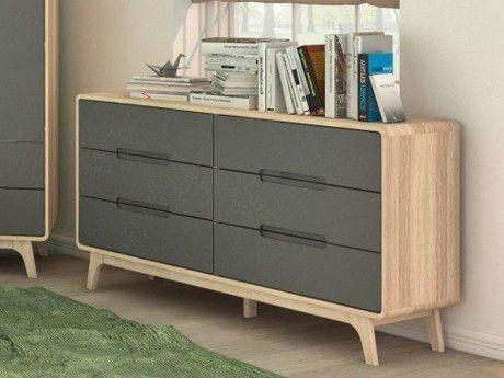 marque generique commode elin 6 tiroirs ch ne et gris pas cher achat vente commode. Black Bedroom Furniture Sets. Home Design Ideas