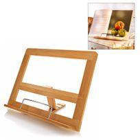 Touslescadeaux - Support pour livre de cuisine - porte recettes - Pupitre de Lecture pour partitions, tablette tactile. Inclinable à 3 positions - En bambou et métal