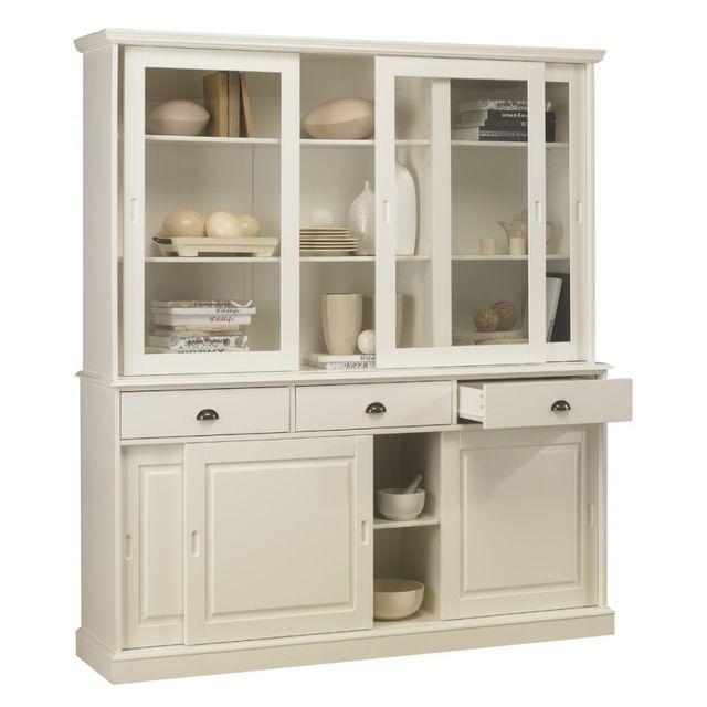 vaisselier blanc pas cher Beaux Meubles Pas Chers - Bibliothèque Blanche - Vaisselier Blanc 6 Portes  Coulissantes