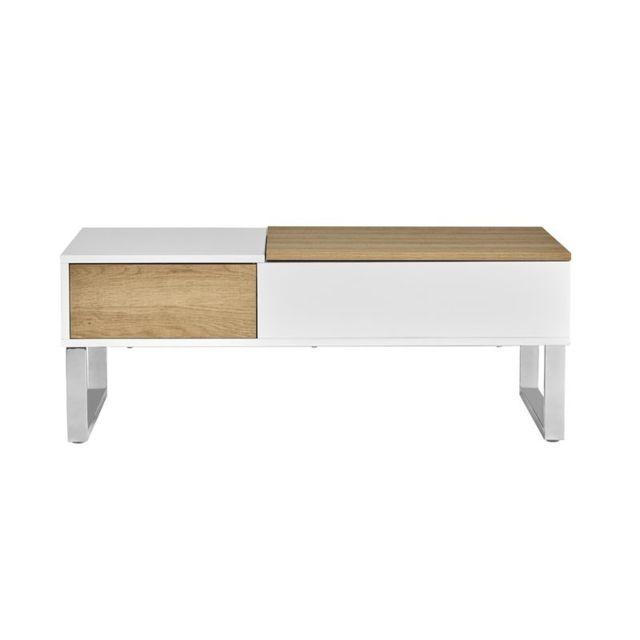 Tousmesmeubles Table basse relevable Blanc/Bois - Pierre