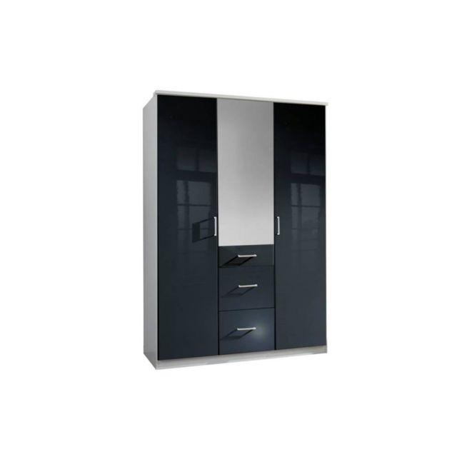 Inside 75 Armoire Cooper 3 portes 3 tiroirs largeur 135 coloris laqué noir / blanc